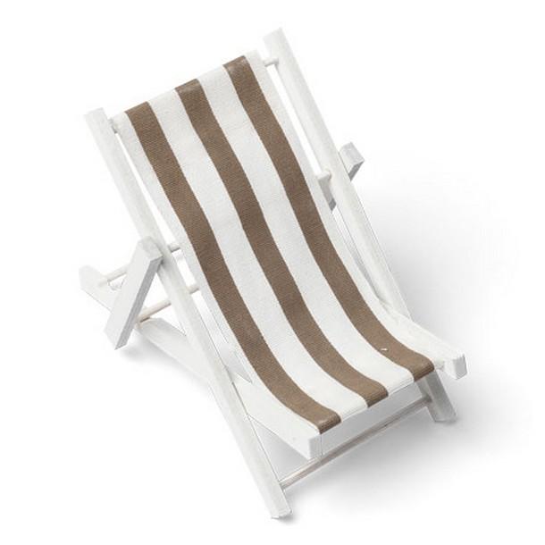 vente mini transat bois blanc toile ray e taupe et blanc. Black Bedroom Furniture Sets. Home Design Ideas