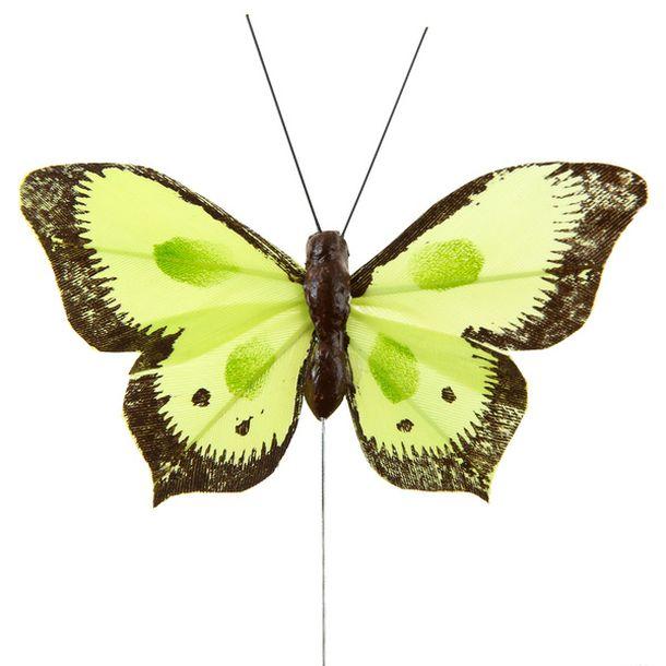 achat papillon bicolore sur tige vert anis x6 d coration. Black Bedroom Furniture Sets. Home Design Ideas