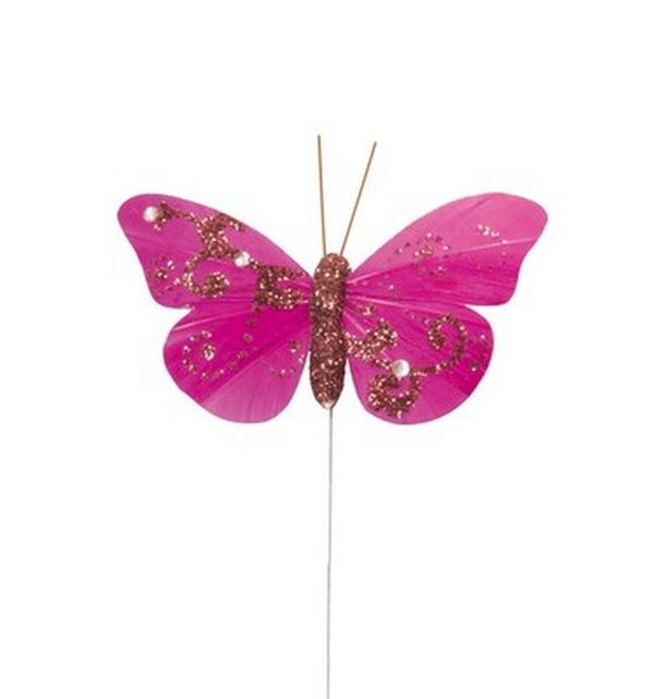 Papillon paillet fuschia sur tige 1001 d co table - Papillon sur tige ...