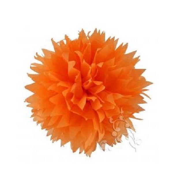 pompon papier de soie fleur 38 cm orange 1001 d co table. Black Bedroom Furniture Sets. Home Design Ideas