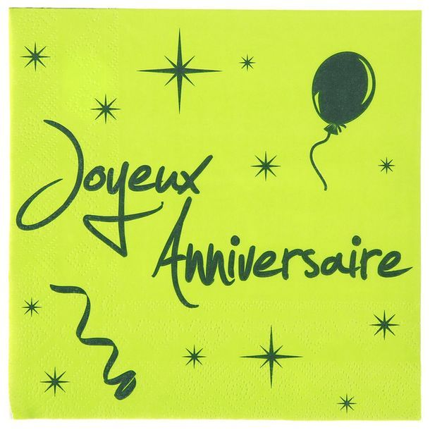 serviette vert anis noire joyeux anniversaire 1001 d co table. Black Bedroom Furniture Sets. Home Design Ideas