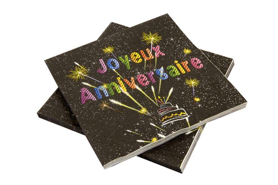 20 serviettes anniversaire multicolores fond noir 1001 deco table. Black Bedroom Furniture Sets. Home Design Ideas