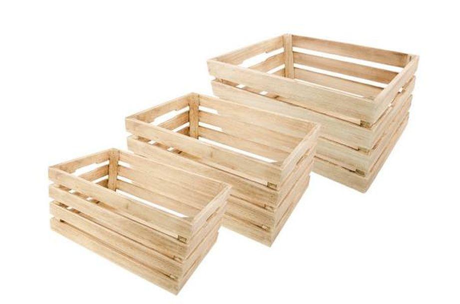 Achat set de 3 cagettes en bois naturel d coration de for Cagette en bois deco