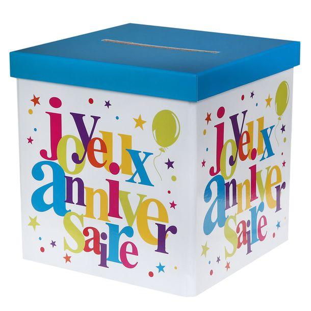 urne tirelire joyeux anniversaire multicolore 1001 d co table. Black Bedroom Furniture Sets. Home Design Ideas