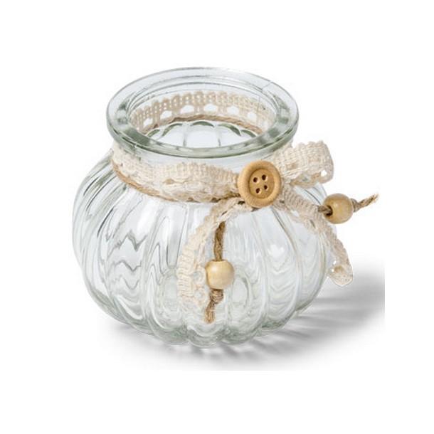 Vase en verre rond d cor jute et dentelle 1001 d co table - Vase rond en verre ...