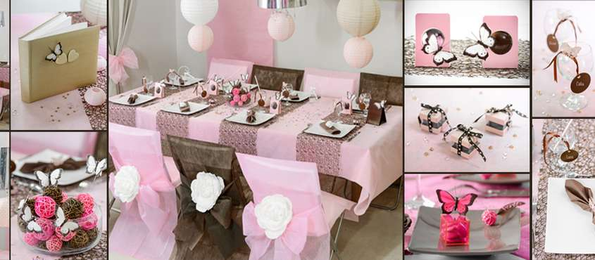 Decoration de table de bapteme rose decor papillons.
