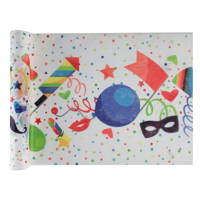 Chemin de table multicolore anniversaire enfants - Deco table multicolore ...