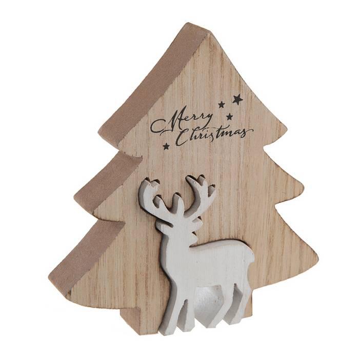 d cor de no l sapin en bois naturel et son renne blanc 12 cm. Black Bedroom Furniture Sets. Home Design Ideas