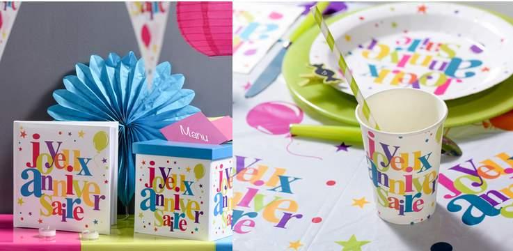 urne, livre d'or et vaisselle jetable pour anniversaire multicolore