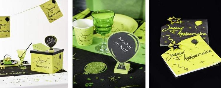 Déco de table Anniversaire vert anis et noir