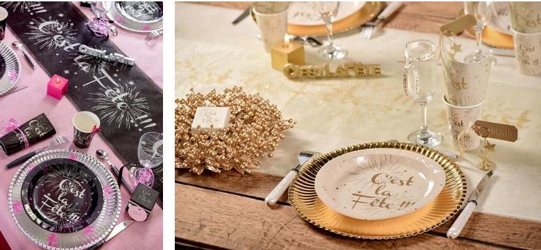 décoration de table de noël et fin d'année or et argent.