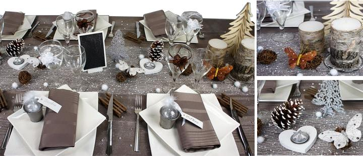 decoration de table de noel et nouvel taupe et blanc